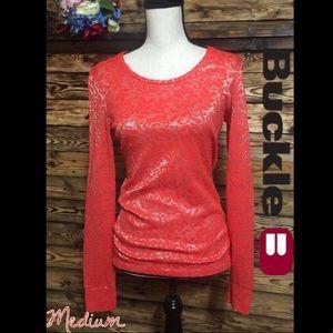 Buckle BKE Coral Floral Metallic Long Sleeve Top M